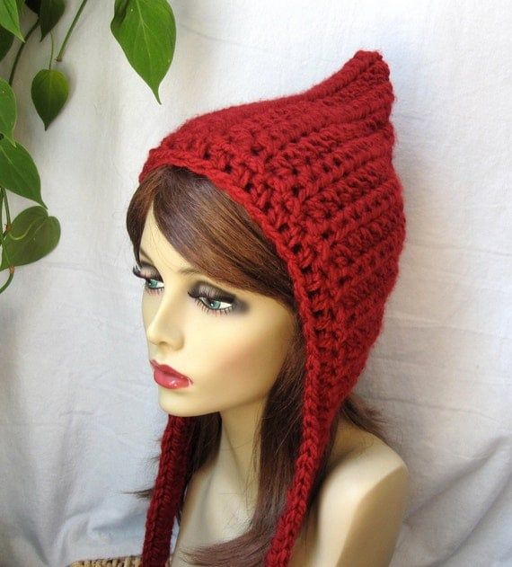 Hoodie, Elf Hat, Pixie Hat, Red Riding Hood, Womens Hat, Warm, Chunky, Teens, Girls, Chemo Hat, Winter JE467HO