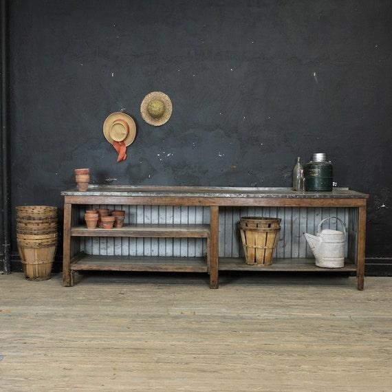Vintage Metal Top Workbench Potting Table