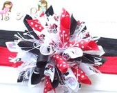 Minnie Mouse Bows Red Black White Boutique Baby Girl Korker Hair Bow Shimmery Elastic Headband