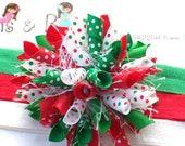 Swiss Dot Christmas Whimsy Boutique Baby Girl Korker Hair Bow Shimmery Elastic Headband