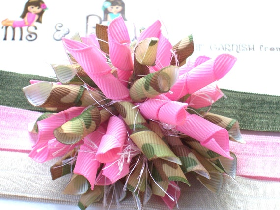 Mossy Pink Camouflage Daddys Lil Army Girl Military Inspired Boutique Korker Hair Bow Shimmery Elastic Headband