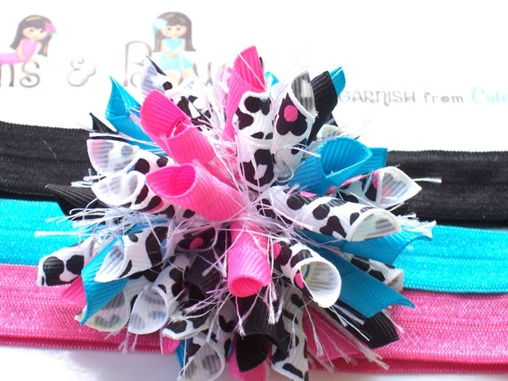 Leopard Blossoms Hot Pink Turquoise Black White Boutique Baby Girl Korker Hair Bow Shimmery Elastic Headband