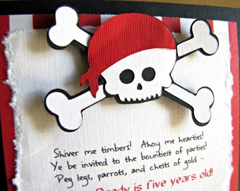 Pirate Party Invitations, Pirate Birthday Party Invitation, Pirate Invitation, Pirate 1st Birthday Invitations, Pirate Shower, Set of 12