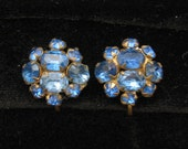 Vintage Lisner Rhinestone Earrings Blue Sapphire 1940s