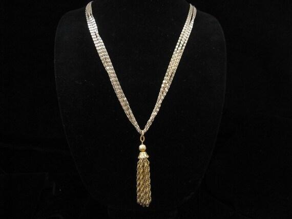Vintage Long Dangling 4 Strand Tassel Necklace