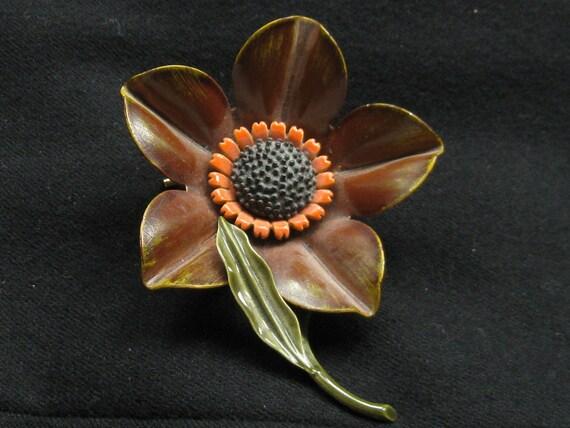 Vintage Fall Brown Enamel Flower Pin 1960s