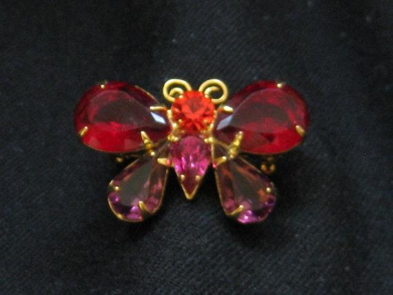 Vintage Joan Rivers Red & Purple Rhinestone Butterfly Pin