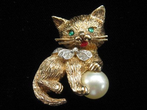Vintage Panetta Kitty Cat Kitten Rhinestones & Pearl Pin 1960s