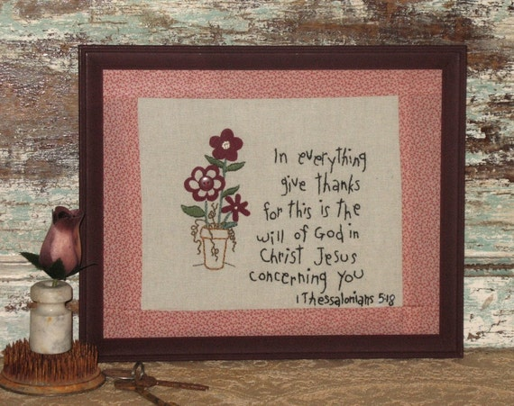 Cottage Chic Hand Embroidered Bible Verse Stitchery