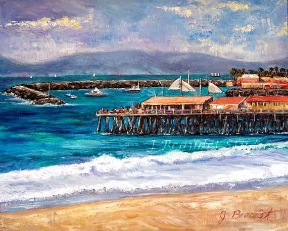 Original Landscape Painting California Coast Redondo Beach Pier Palette Knife