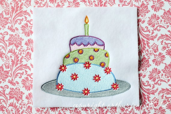 Birthday Cake, INSTANT DIGITAL DOWNLOAD, Embroidery Design for Machine Embroidery 5x7