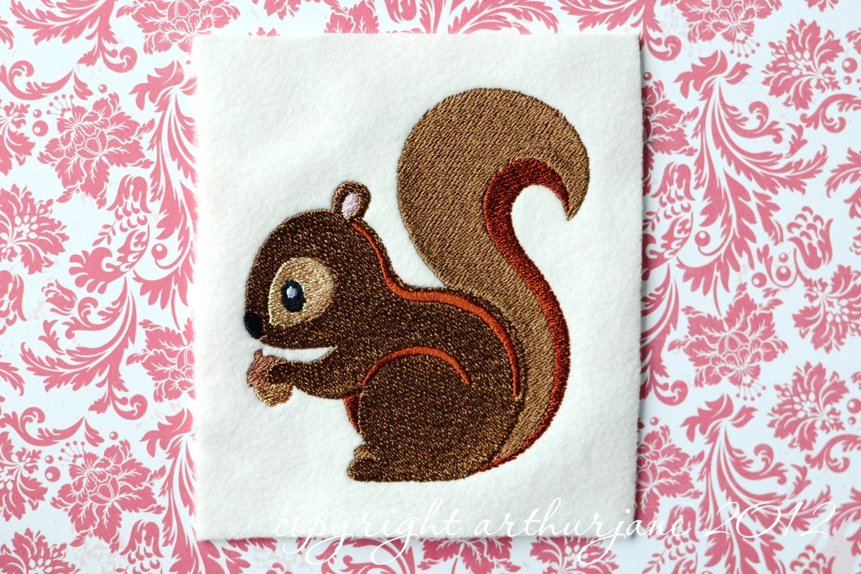 Squirrel embroidery design instant digital download woodland