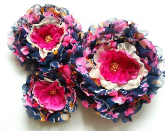 Navy Blue Pink Bridal Chiffon Flowers, Bridal Corsage, Navy Blue Weddings Accessories, Bridal Bridesmaids Hair Flowers, Flowers for Sash