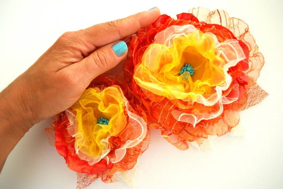 Orange-yellow-turquoise-Set of 2 organza flowers-Weddings Accessories Hair Belts Sashes-Bridal corsage,bridesmaids.