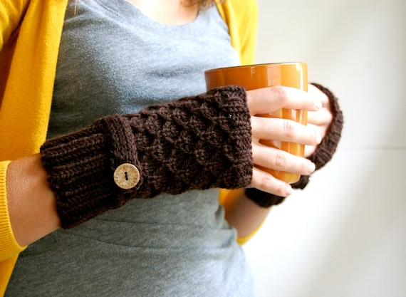 Knit Fingerless Gloves, Mittens, Chocolate Brown Wool, Honeycomb with Strap