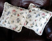 Vintage Decorator Pillows Brocade Throw Pillow Floral Roses Cream Pink Blue Fringed Set of Two
