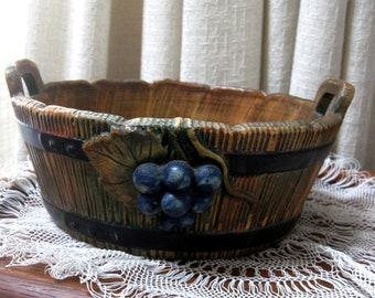 Vintage Weller Pottery Wood Rose Basket Double Handled Grape Motif Green Brown Rust 1920s