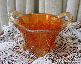 Carnival Glass Basket Bowl Marigold Northwood Six Sided 1910s