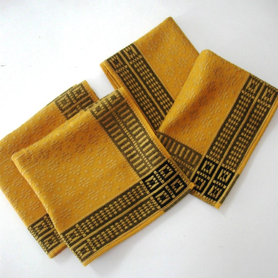 Vintage Linen Cloth Napkins Placemats French Basque Fabric Woven Cotton Gold Black 1960s Unused