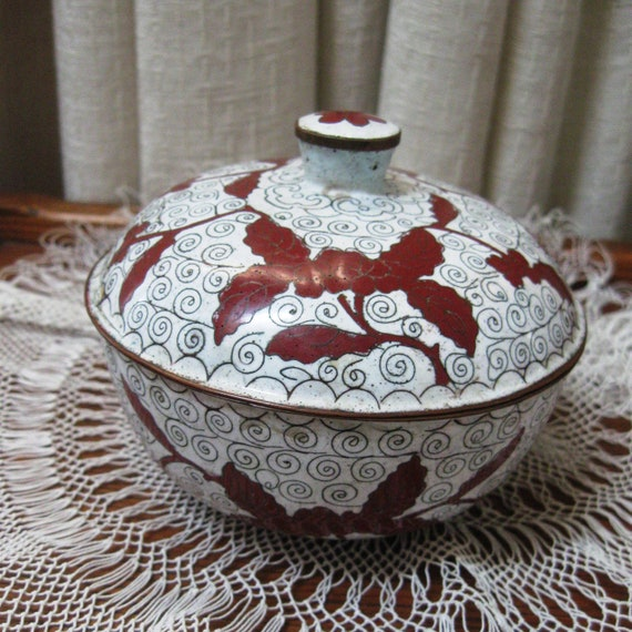Vintage Cloisonne Rice Bowl Enamel Covered Dish Copper Filigree Red White Flowered China Pre 1919