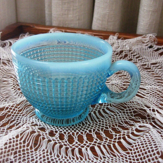 Vintage Cup Ribbed Spiral Opalescent Aqua Pattern Glass 1930s