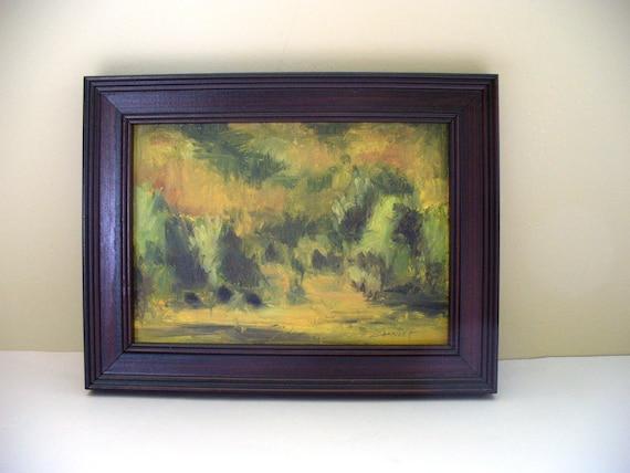 Cow Painting Farm Field Plein Air Framed Pasture Expressionist Mini Art