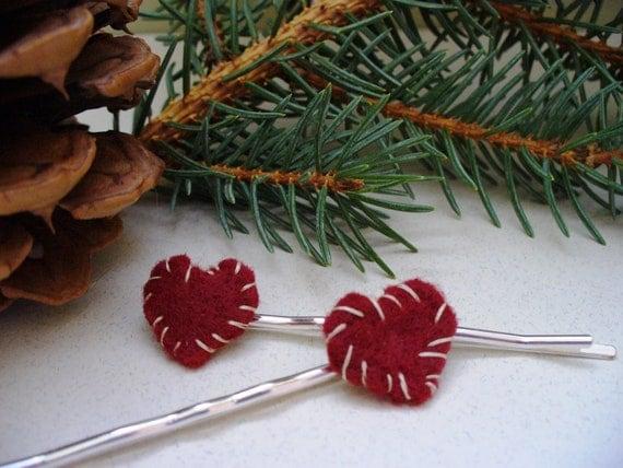 Heart Bobby Pins Clearance Gift Felt Primitive Handmade