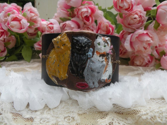 CATS MEOW vintage assemblage bracelet cuff crazy cat lady recycled leather feline kitty unuque unusual