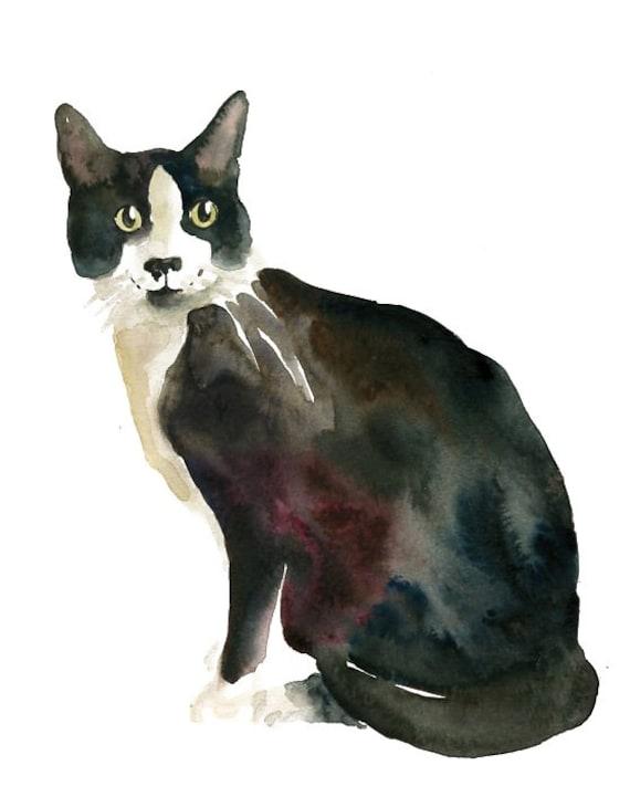 CAT by DIMDI Original watercolor painting 8x10inch