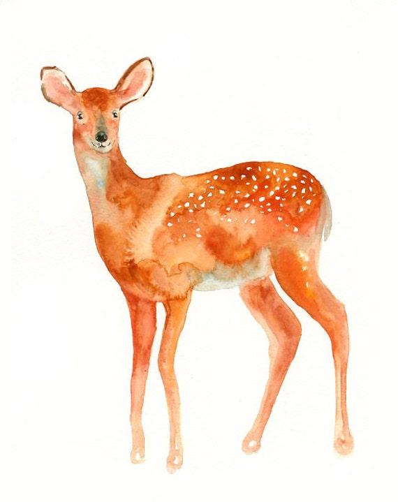 DEER by DIMDI Original watercolor painting 8X10inch(Vertical orientation)