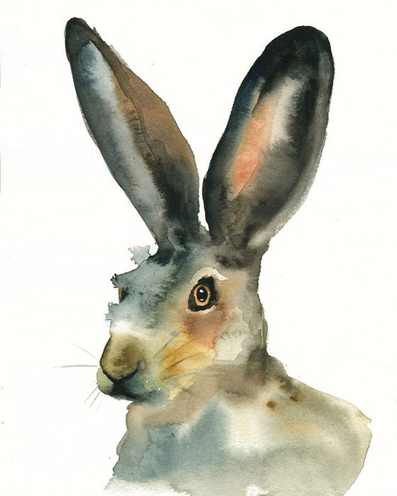 JACKRABBIT Original watercolor painting 8x10inch (vertical orientation)