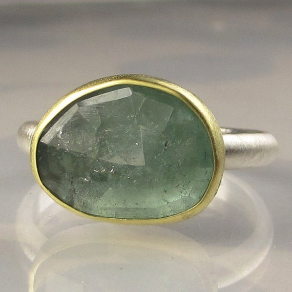 Rose Cut Light Blue Green Tourmaline Ring - 18k Gold and Sterling