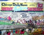 Vintage Newspaper Comics Section, 1951, Chicago Daily News, 16 Pages for Paper Crafts, Upcycling, Altered Art