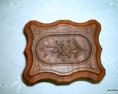 Antique 1940s Carved Wood Postage Stamp Box