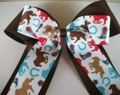 Western Brown, Red, and Blue Horse Print  Extra Large Cheer Dance Team Double Stacked Hair Bow with Tails