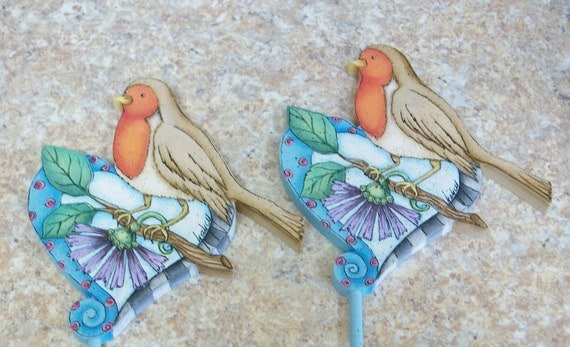 Handpainted Wooden Robin And Heart Plant Stick