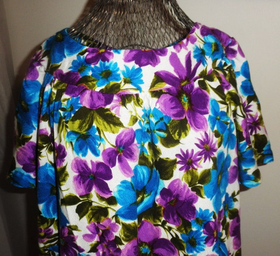 Jewel Toned Floral Purple and Blue Muumuu House Dress L/XL