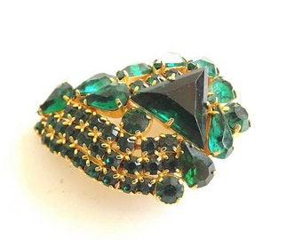 Emerald Green Vintage Brooch Rhinestones Retro 1950s Costume Jewelry  Dressy Formal