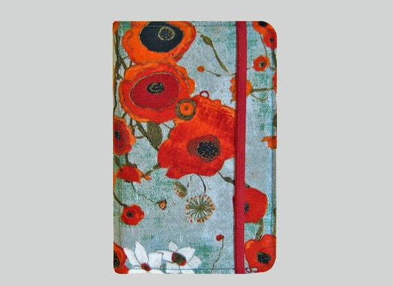 Kindle Cover Hardcover, Kindle Case, eReader, Kobo, Nook, Nexus 7, Kindle Fire HDX, Kindle Paperwhite, Nook GlowLight Large Poppies in Teal
