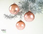 Blown Glass Holiday Ornament Suncatcher Pale Coral Ice Ornament - wolfartglass