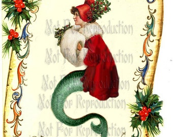 cm4 Enchanting CHRISTMAS FABRIC Vintage Victorian Christmas Postcard Mermaid Fabric Blocks Applique for Quilts.