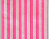 Set of 75 - Traditional Sweet Shop Pink Candy Stripe Paper Bags Size Combo Pack - 25 Each of Three Sizes