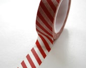 Washi Tape - 15mm - Red and White Diagonal Stripe - Deco Paper Tape No. 461