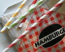 Vintage Style Foil Paper Lined Jumbo Hamburger Bags - Red and Black Checkered - Gusseted 6-1/2 x 1-1/2 x 7-3/4 Inches - set of 50