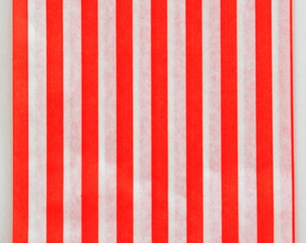 Set of 100 - Traditional Sweet Shop Red Stripe Paper Bags - 10 x 14