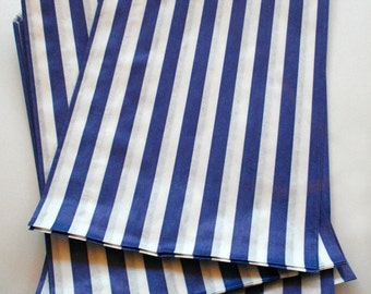 Set of 250 - Traditional Sweet Shop Blue Stripe Paper Bags - 7 x 9 New Style