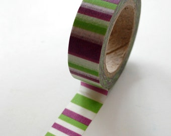 Washi Tape - 15mm - Purple Green and White Horizontal Stripe - Deco Paper Tape No. 374