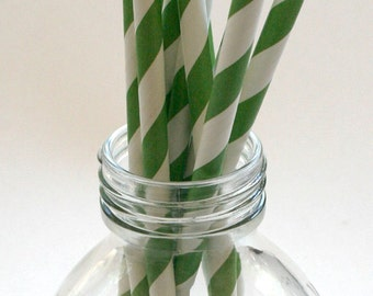 50 Grass Green Stripe Paper Straws - Perfect for Parties - Favors--Free Editable DIY Tags PDF