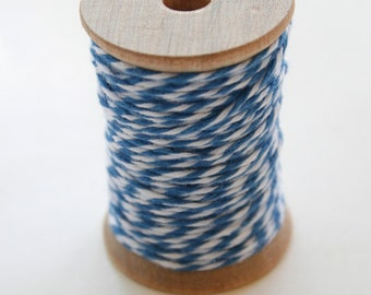 Baker's Twine - 20 Yards - Denim - Deep Blue - 4 Ply Twine on Wooden Spool