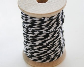 Baker's Twine - 20 Yards - Charcoal - Black - 4 Ply Twine on Wooden Spool